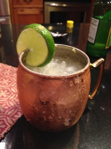 Moscow mule in copper mug with lime wedge